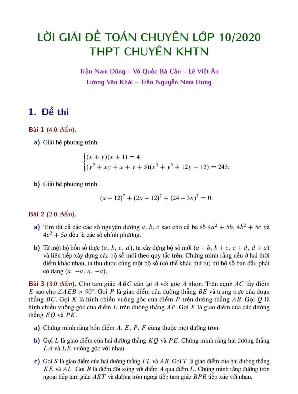 Đề thi vào 10 môn Toán trường THPT chuyên KHTN 2020-2021-2