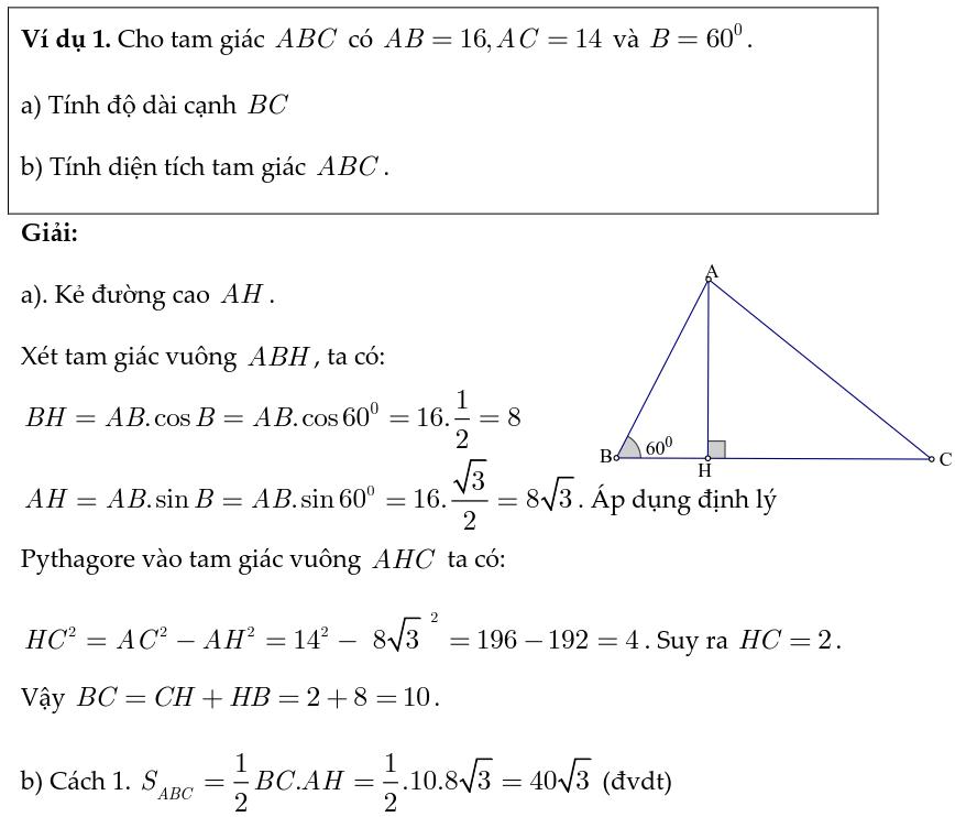 Hướng dẫn giải bài tập hệ thức lượng trong tam giác vuông-10
