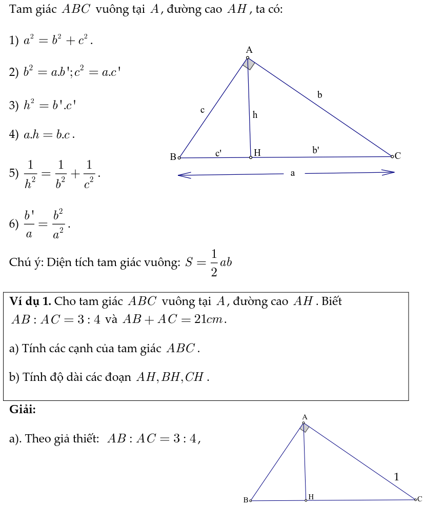 Hướng dẫn giải bài tập hệ thức lượng trong tam giác vuông