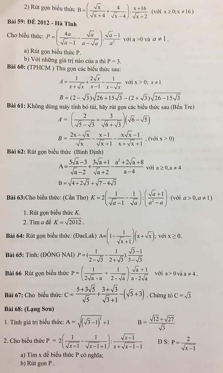 Bài tập: Rút gọn biểu thức và câu hỏi phụ - Ôn thi vào 10-6