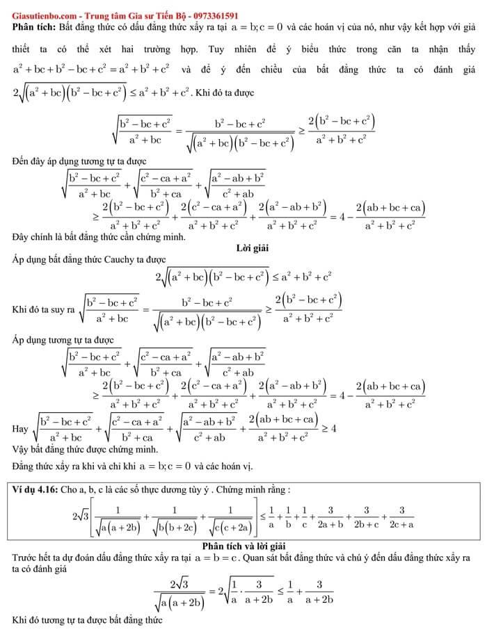 Bất đẳng thức Cauchy (Côsi) và bài tập