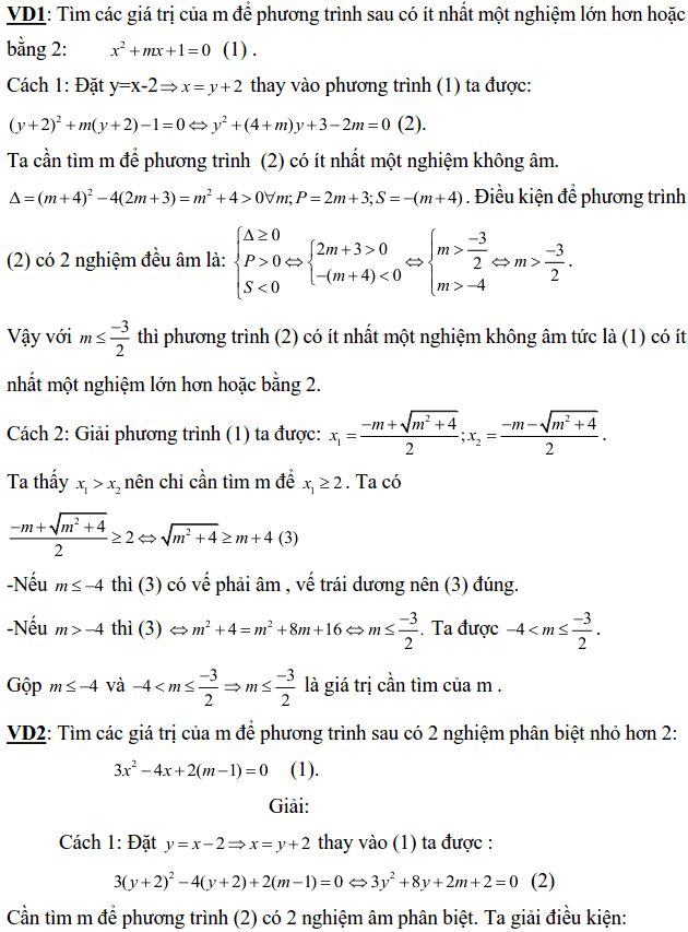 Dạng bài tìm điều kiện về nghiệm của phương trình bậc hai