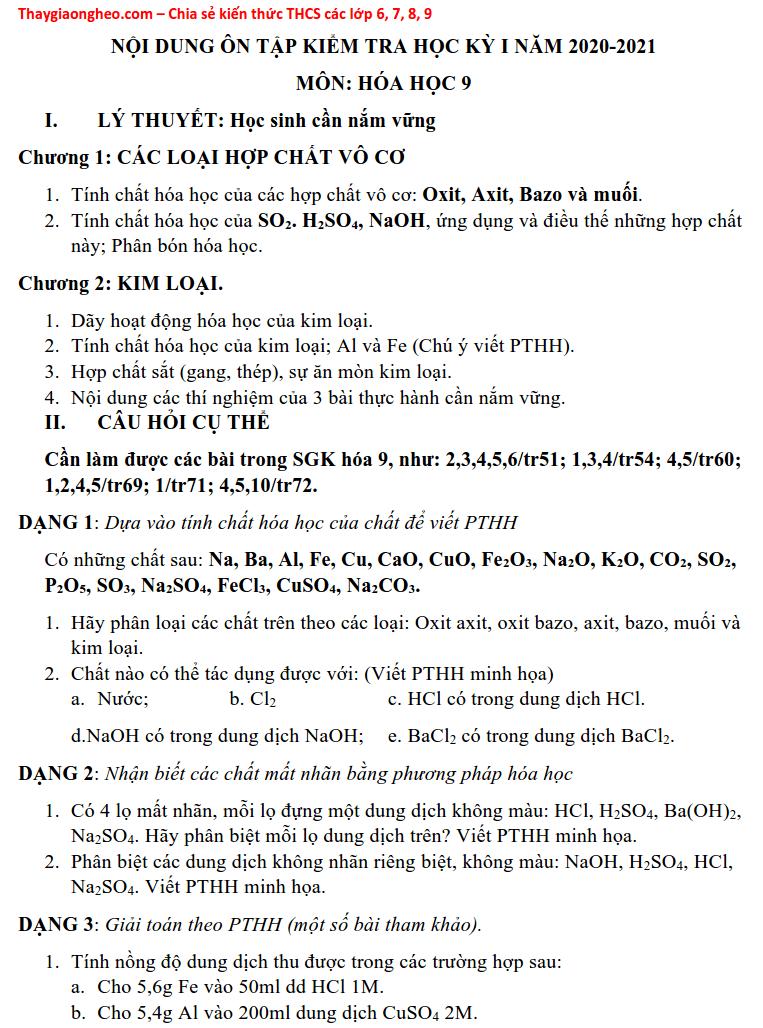 Đề cương HK1 môn Hóa học lớp 9 năm 2020 - 2021