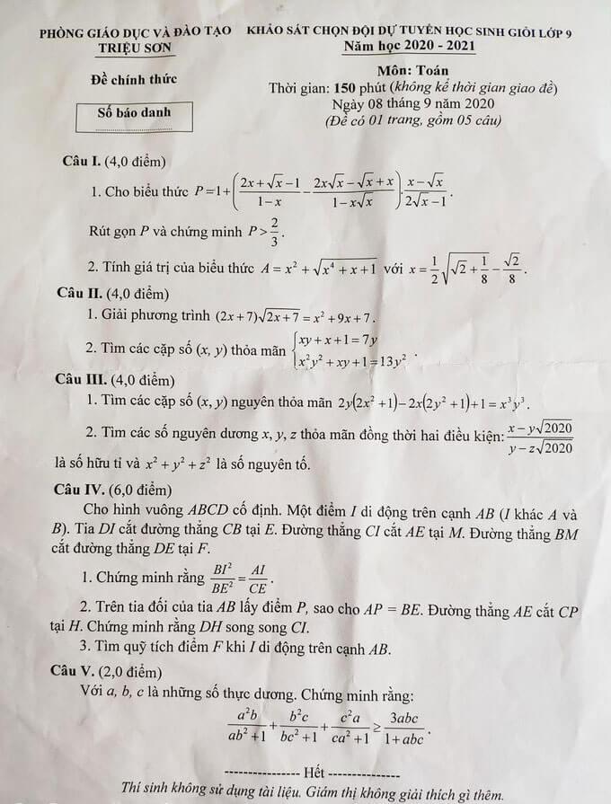 Đề thi HSG Toán lớp 9 huyện Triệu Sơn 2020-2021