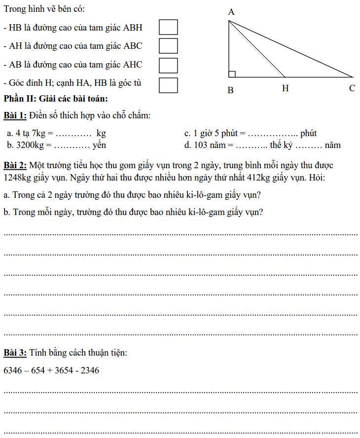 Bài kiểm tra giữa học kỳ 1 môn Toán lớp 4-1