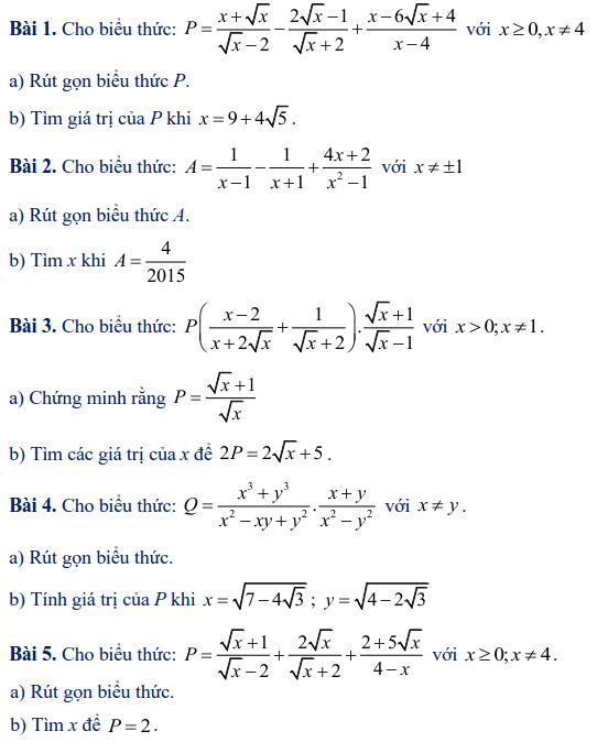 Các dạng toán rút gọn biểu thức lớp 9-1