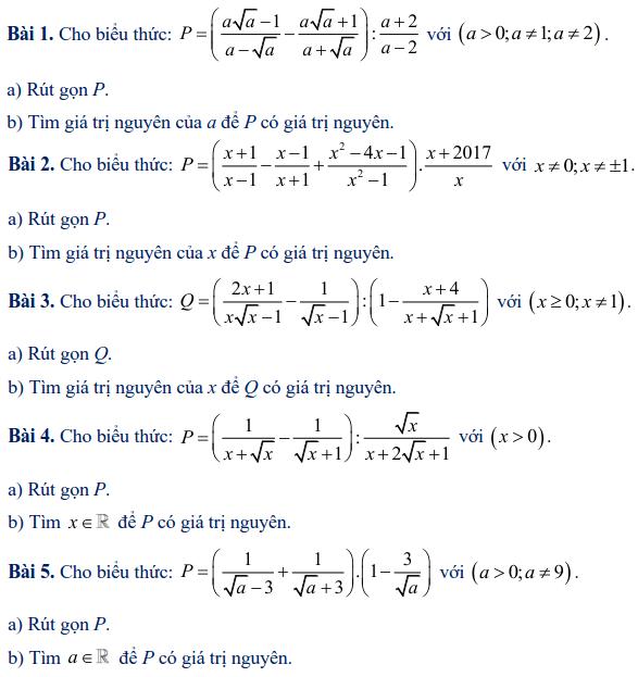 Các dạng toán rút gọn biểu thức lớp 9-2