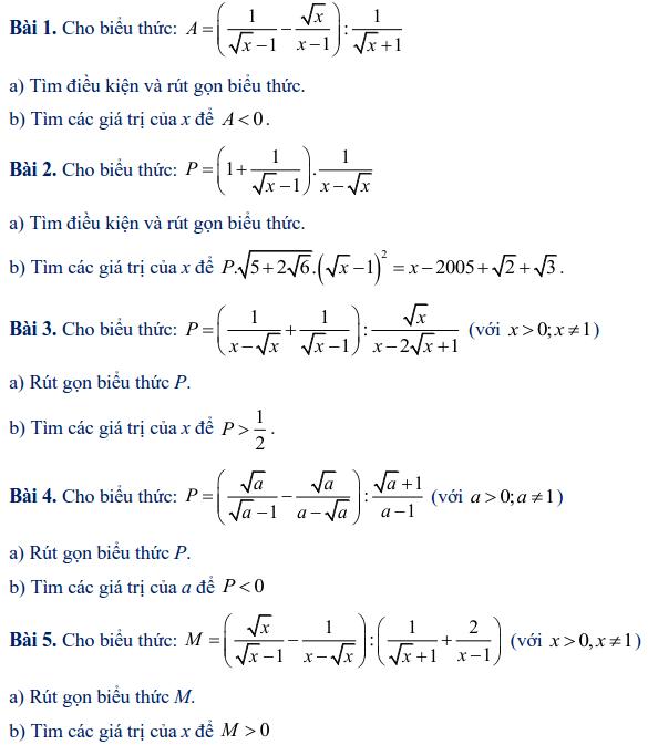 Các dạng toán rút gọn biểu thức lớp 9-3