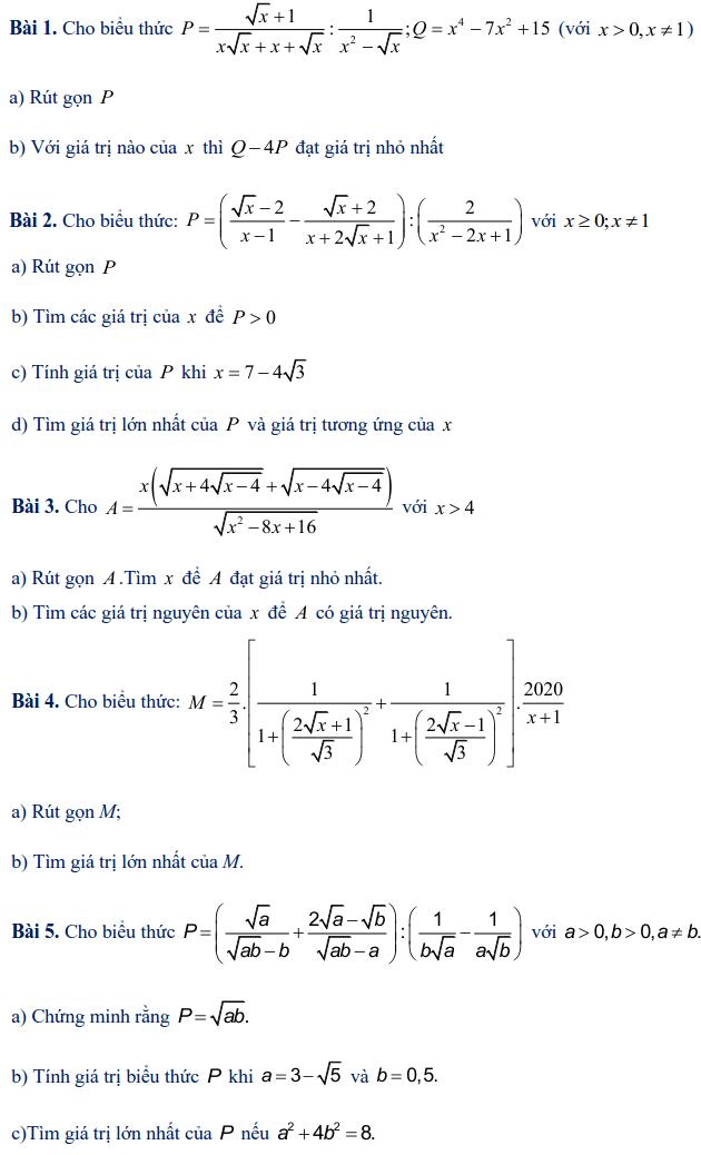 Các dạng toán rút gọn biểu thức lớp 9-5