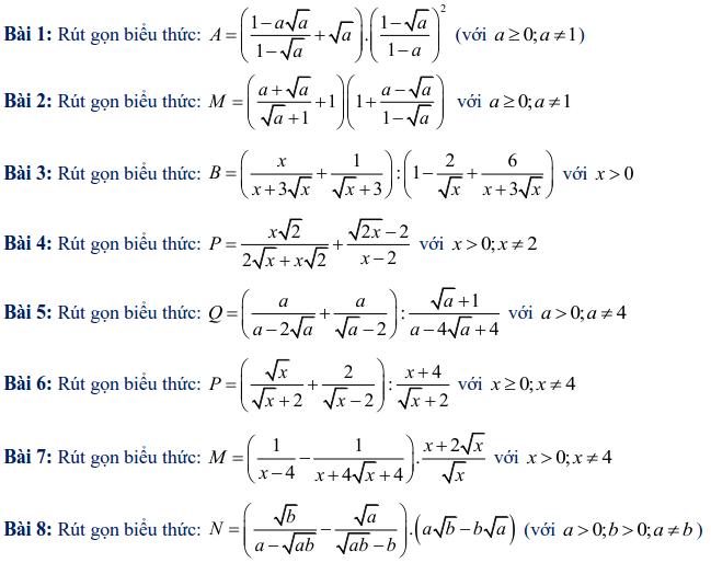Các dạng toán rút gọn biểu thức lớp 9