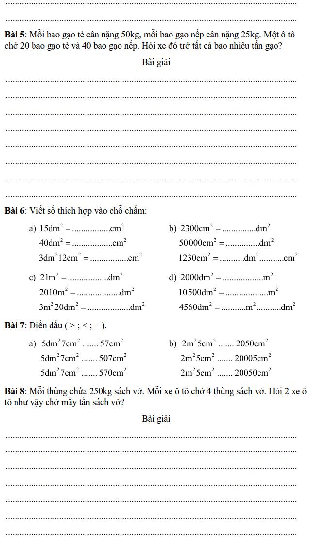 Phiếu bài tập Toán lớp 4 – Tuần 11-1