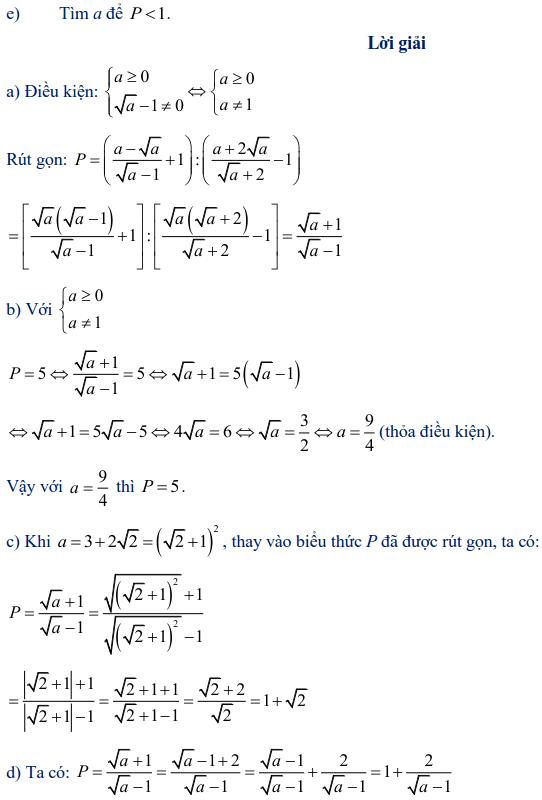 Ví dụ rút gọn biểu thức chứa căn thức bậc hai-1