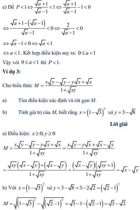 Ví dụ rút gọn biểu thức chứa căn thức bậc hai-3