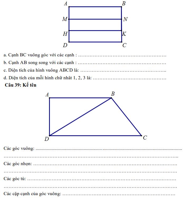 Nội dung ôn tập HK1 môn Toán lớp 4-3