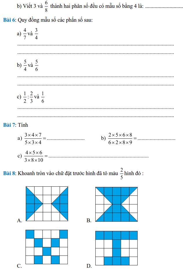Phiếu bài tập Toán lớp 4 – Tuần 21-1