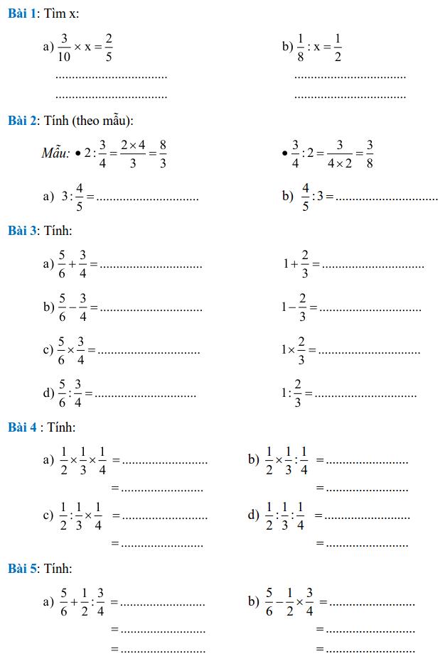 Phiếu bài tập Toán lớp 4 – Tuần 26