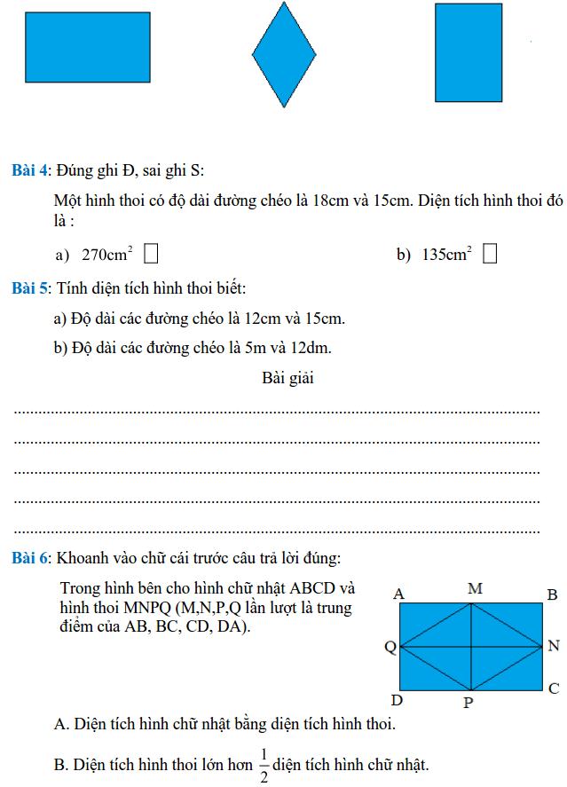 Phiếu bài tập Toán lớp 4 – Tuần 27-1