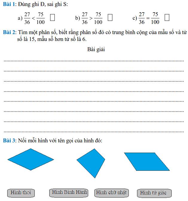 Phiếu bài tập Toán lớp 4 – Tuần 27
