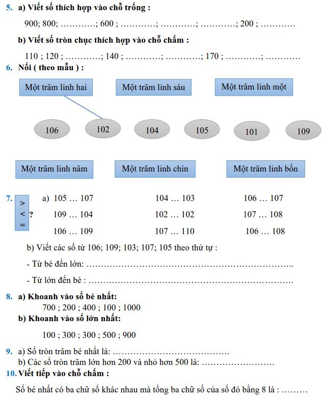 Phiếu bài tập Toán lớp 2 - Tuần 28-1