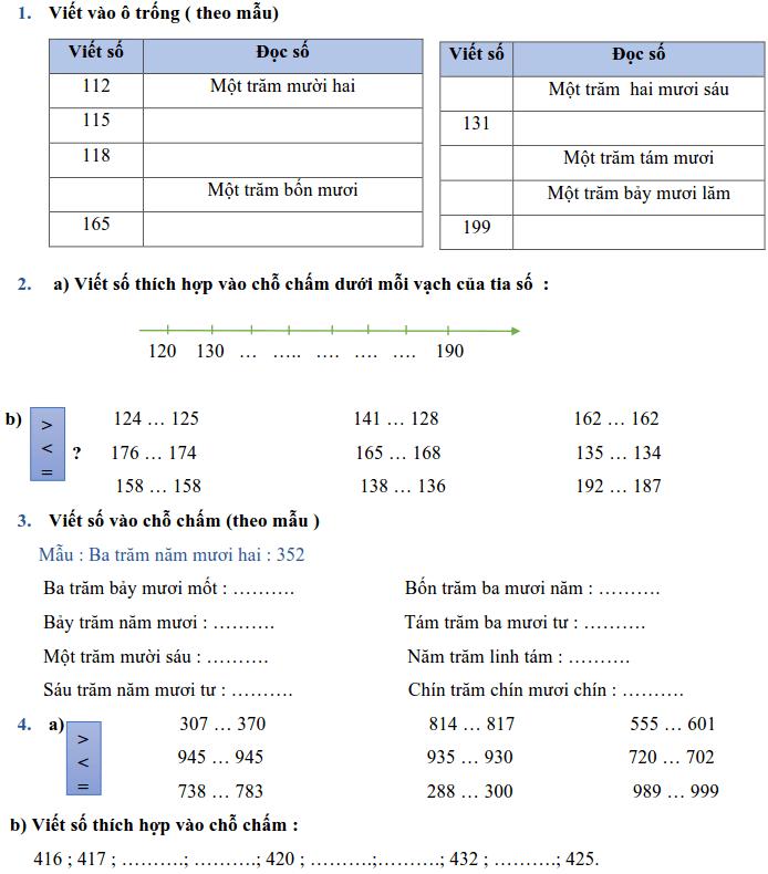 Phiếu bài tập Toán lớp 2 - Tuần 29