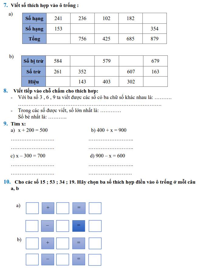 Phiếu bài tập Toán lớp 2 - Tuần 32-1