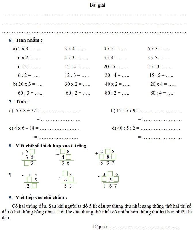 Phiếu bài tập Toán lớp 2 - Tuần 33-1