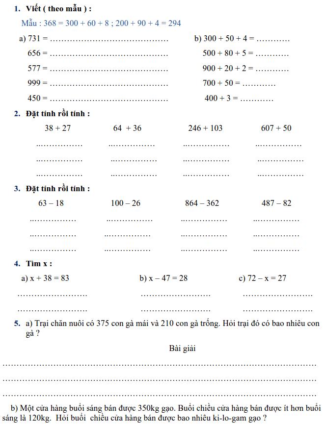 Phiếu bài tập Toán lớp 2 - Tuần 33
