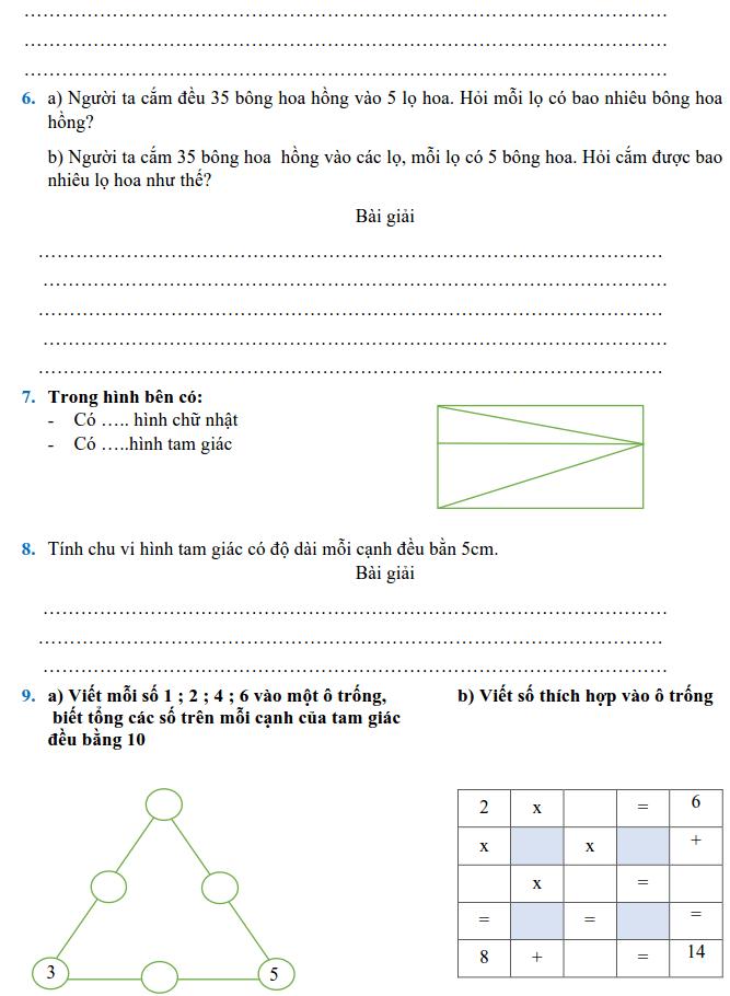 Phiếu bài tập Toán lớp 2 - Tuần 35-1