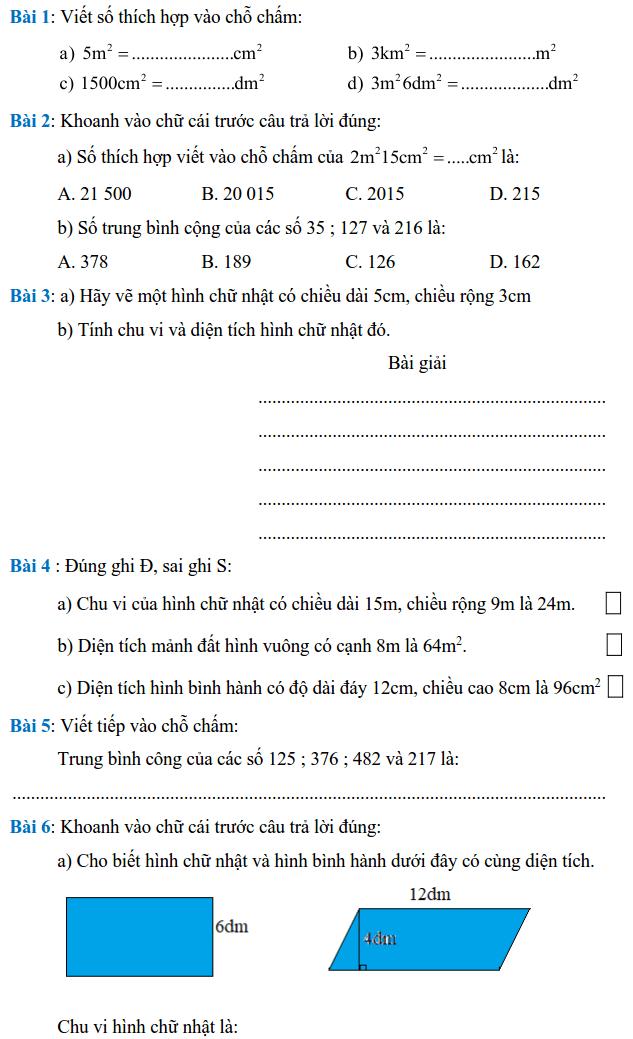 Phiếu bài tập Toán lớp 4 – Tuần 34