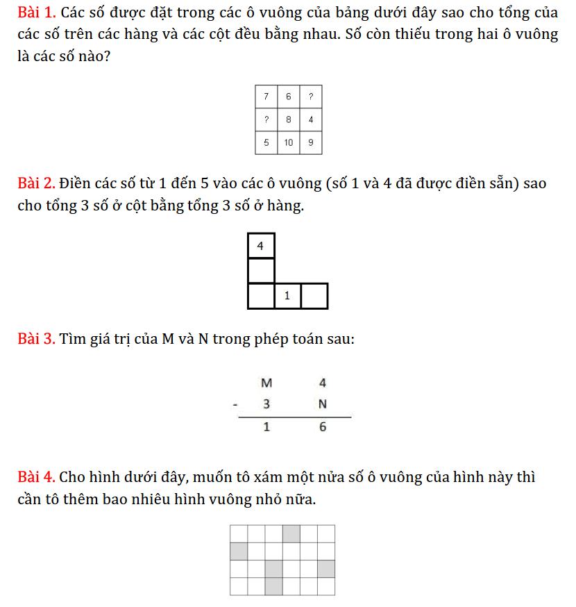 15 bài toán tư duy lớp 3 hay và khó - Ôn luyện Toán 3 - Phần 4