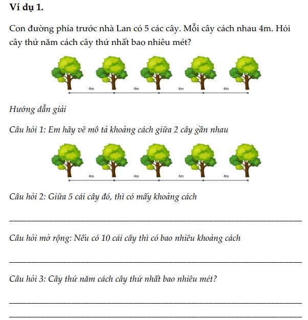 Hướng dẫn giải bài toán trồng cây – Ôn luyện Toán 3 – Phần 5